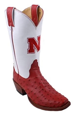 Nocona 7LDUN02 Womens Nebraska Red/White Ostrich Branded College Boots