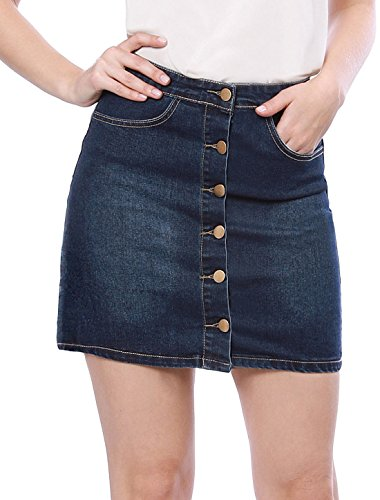 Allegra K Women's Slant Pockets Button Down Washed Denim Skirt M (Slant Pockets Skirt)