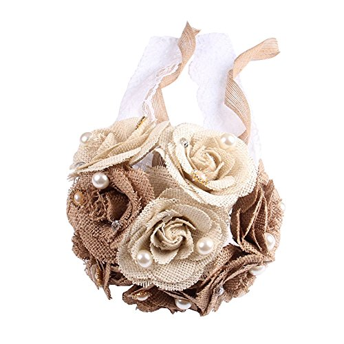 Wedding Flowers,Bride Holding Flowers Burlap Rustic Bouquet Lace and Pearls Artificial Flowers Wedding Anniversary Engagement Decoration Home Decor (Lace Wedding Bouquet)