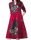 ANDYOU Womens Folk Style Pockets Linen C