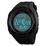 Fashion Pedometer Sports Watches Men's Multifunction Double time Calories Alarm Digital Wristwatches 50m Waterproof Electronic Watches (Black)