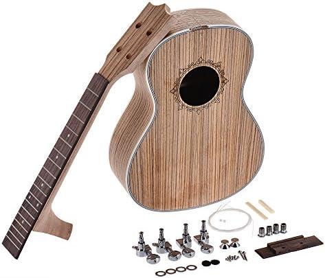[スポンサー プロダクト]Rakuby 26インチ ウクレレ DIYキット ハワイギター ゼブラウッドボディー ローズウッド 指板+ペグ+弦+橋+ナット