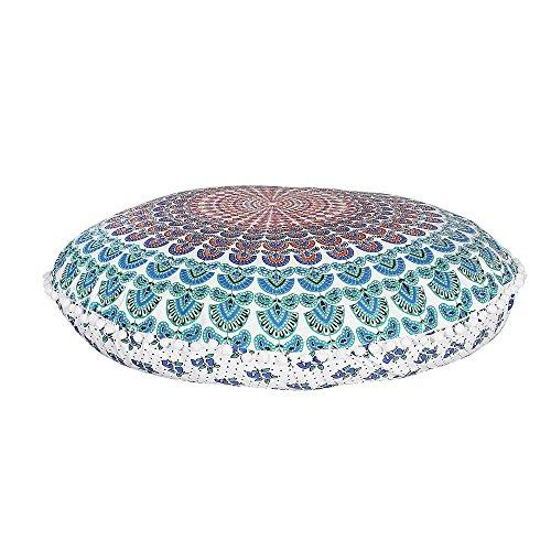 Indian Mandala Floor Pillow Meditation Cushion Seating Throw Cover Hippie Decorative Bohemian Boho Pet Dog Bed by Labhanshi by Labhanshi
