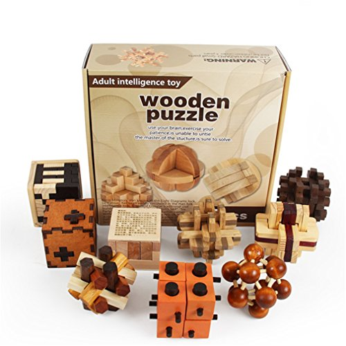 VolksRose 3D Wooden Cube Brain Teaser Puzzle 9 pcs, IQ Puzzles Great Educational Intelligence Jigsaw Puzzles Toys for Adult Children and Student - Challenge Your Logical Thinking U6 ()