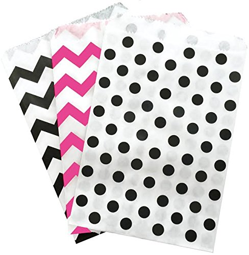 Outside the Box Papers Hot Pink Black and White Paper Treat Sacks - Diva Theme - Chevron Polka Dot Favor Bags - 5.5 x 7.5 Inches - Pack of 48