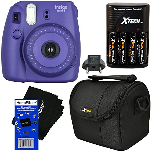 Fujifilm Instax Mini 8 Instant Film Camera (Grape) + 4 AA High Capacity Rechargeable Batteries with Battery Charger + Well Padded Camera Case + HeroFiber Ultra Gentle Cleaning Cloth (Fujifilm Instax Mini8 Grape compare prices)