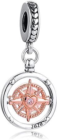 PANDOCCI 2020 Rose 2020 Club Folgen Sie Immer Ihrem Herzen Kompass Bead 925  Silber DIY passt für Original Pandora Armbänder Charm Modeschmuck