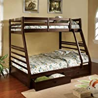 247SHOPATHOME Idf-BK588EX Bunk-Beds, Full, Walnut