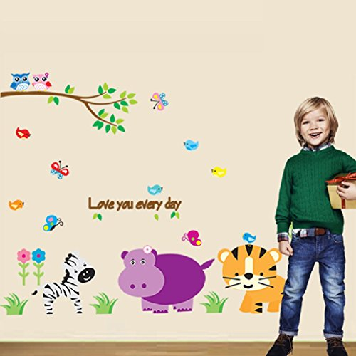 Suyunyuan DIY cartoon zebra hippo tiger butterfly animals owl wall stickers decals for living room wall art decor posters stickers kids (Tiger Plastic Mural)