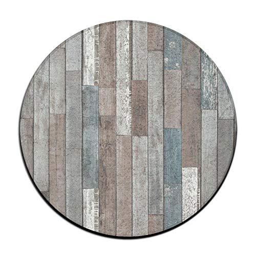 Jianyue Blue Grey Rustic Wood Doormats,Round Rug Entrance Entry Front Door Mat,Office Rugs,Indoor Outdoor Decor Decorative,Floor Mat,Non Slip Soft Absorbent Bathroom Mat