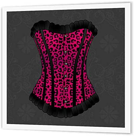 3dRose ht_58699_1 Pink and Black Animal Print Corset-Iron on Heat Transfer Paper for White Material, 8 by 8-Inch