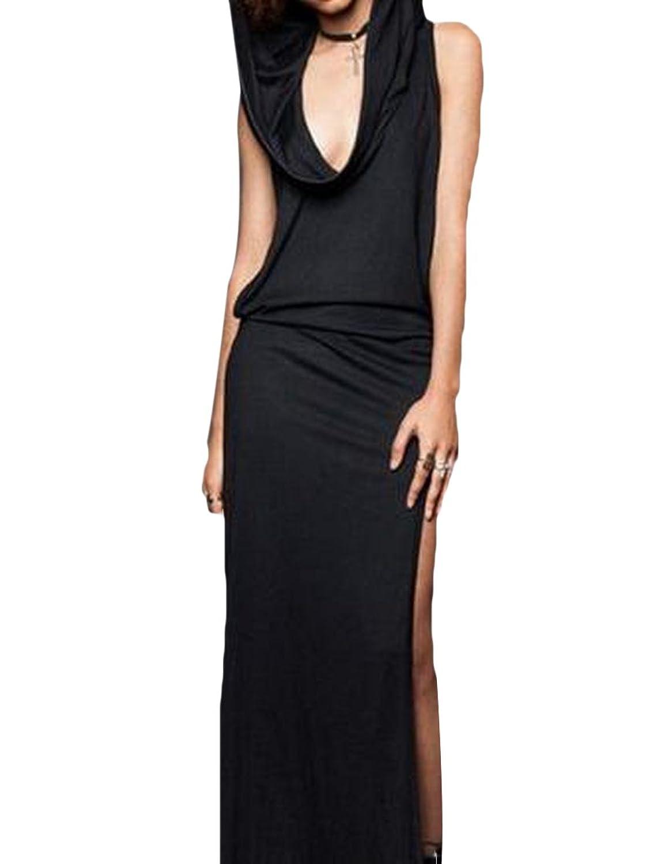 xiaokong Women Sleeveless Backless High Waist Club Dress with Hat