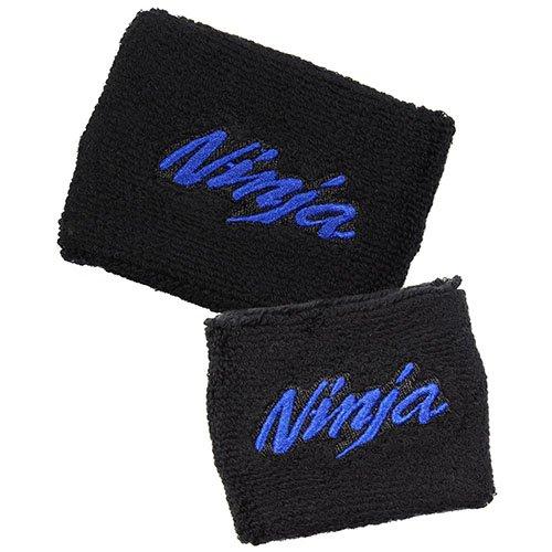 Kawasaki NINJA Black/Blue Brake/Clutch Reservoir Cover by MotoSocks Set Fits ZX-6R, ZX-9R, ZX-10R, ZX-12R, ZX-14R, ZX6, ZX9, ZX10, ZX12, ZX14, Ninja