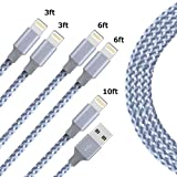 Charger for iPhone HongS Lightning Charging Cable Durable Nylon Braided Extra Long Charging Cable for iPhone X/8/8 Plus/7/7 Plus/6/6 Plus,iPad/iPod and More 3ft 6ft 10ft (5 Pack)