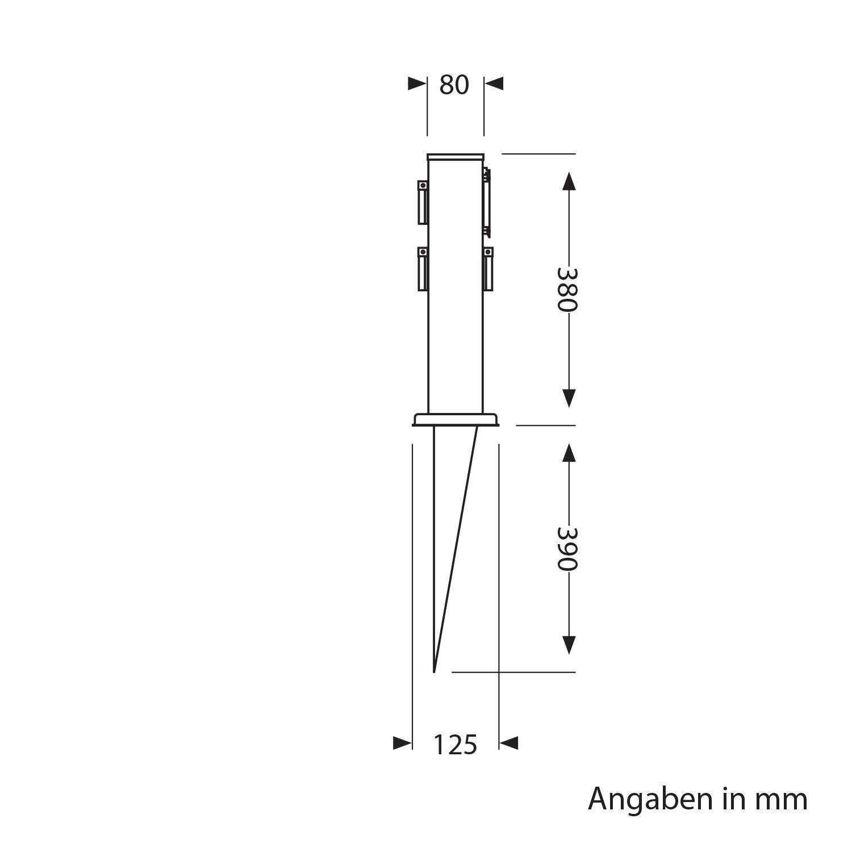 38cm Acier Inoxydable Triple avec Timer//Zeischaltuhr Angulaire Parlat Colonne de Jardin /électrique Polly avec Piquet de Terre et 2m c/âble pour lext/érieur