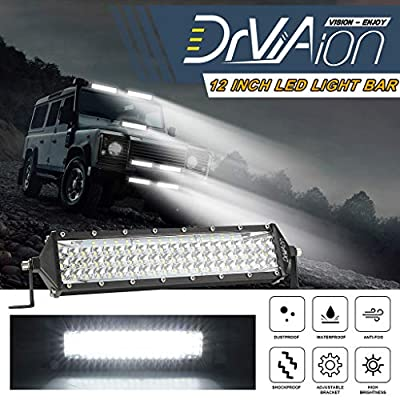 yeyeo 12 inch 264W 5 Row LED Light Bar IP68 6000K White Combo Beam Off-road Work Lamp
