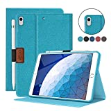 VECO iPad Air 3 Case 2019/iPad Pro 10.5 2017 with Pencil Holder, Denim Series Premium Flip Stand Case, Soft TPU Back Smart Cover with Auto Sleep/Wake for Apple New iPad Air 3rd Generation (Blue)