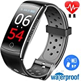 Ereon Sport Fitness Tracker HR - IP68 Waterproof Smart Watch with Heart Rate Monitor Oxygen Monitor Blood Pressure Sleep Monitor Outdoor Swim Run Pedometer Smart Wristband (black-G)
