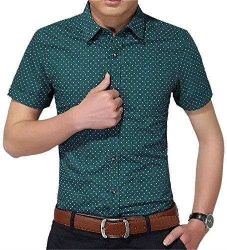 mens 100 cotton short sleeve dress shirt - 1