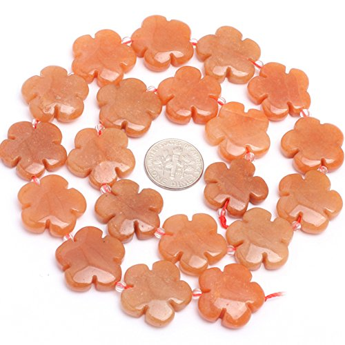 20mm Semi Precious Flower Red Aventurine Jade Gemstone Beads for Jewelry Making Strand 15""