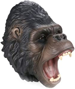 Soft Rubber Gorilla Hand Puppet Realistic Gorilla Head Open Movable Mouth Suitable for Storytelling Teaching Cake Topper Decoration Halloween Decoration