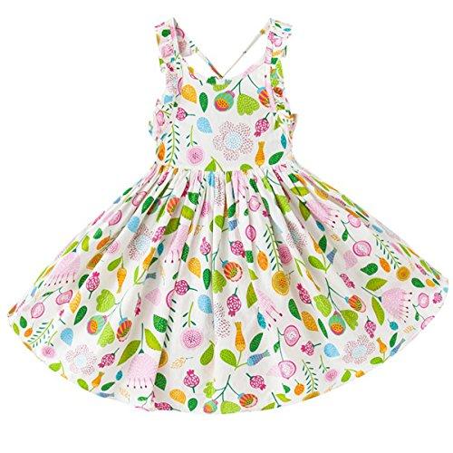 May zhang Little/Big Girls' Dress Sleeveless Cotton Dress,Girls Countryside Overalls Flower Print for Summer (White, 4T)