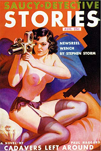 - Saucy Detective Stories Cadavers Left Around Vintage Pulp Magazine Cover Retro Art Poster - 18x24