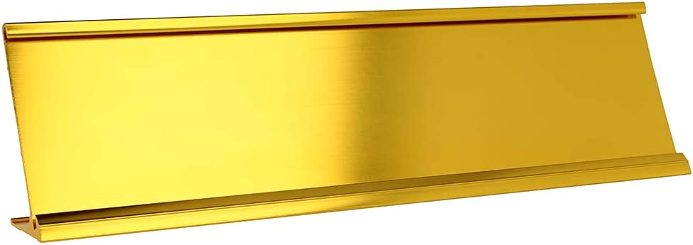 "2"" x 8"" Aluminum Name Plate Holder for Desk - Office Business Door Sign Holder - Gold"