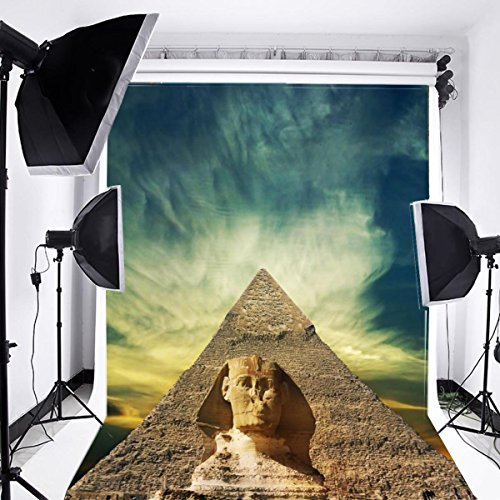 Laeacco 3x5ft Vinyl Photography Backdrop Egyptian Pyramids Sphinx Scene Famous Sites Travel Landscape Egypt Personal Portrait Photo Background Studio Props Children Boys Birthday Party Room (Egypt Pyramids Picture)