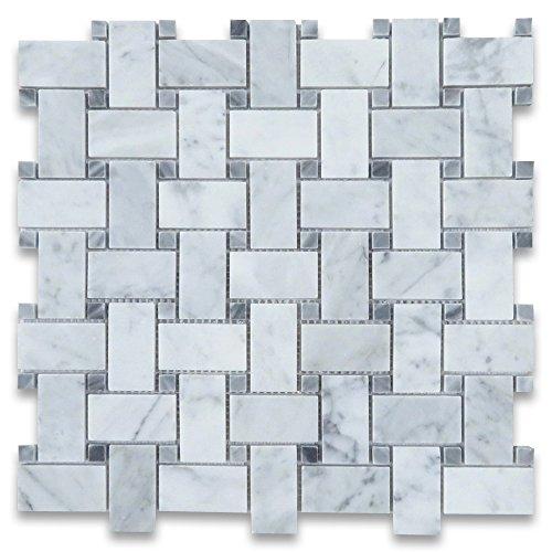 Carrara White Italian Carrera Marble Basketweave Mosaic Tile w/Dark Gray Dots 1 x 2 Polished