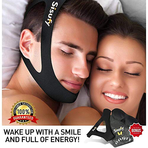 Sisufy New Snore Stopper Anti Snoring Chin Strap - CPAP Chin Strap Designed to Stop Snoring - Anti Snoring Devices Travel Kit- Anti Snore Chin Strap, Nose Vents, Sleep Mask, Earplugs, Travel Bag -