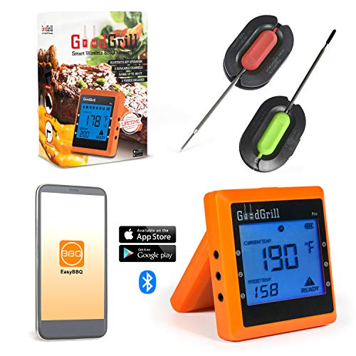 GoodGrill Wireless Meat Thermometer System – Bluetooth Meat Thermometers with Large LCD Screen & 160' Range – Temp Monitoring Smartphone App & 2 Accurate Probes for Grill, Smoker, More