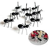 Chris.W 24Pcs Ants Food Pick Fruit Fork Set, Halloween Picks, Bento Decoration Accessories Party Supplies Tableware(Black)