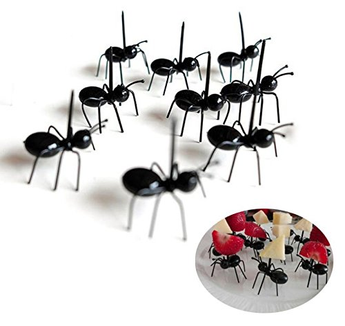 Chris.W 24Pcs Ants Food Pick Fruit Fork Set, Halloween Picks, Bento Decoration Accessories Party Supplies Tableware(Black)