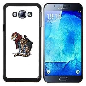 EJOOY---Cubierta de la caja de protección para la piel dura ** Samsung Galaxy A8 A8000 ** --Cheetah Guerrero Cool Cat animal divertida linda