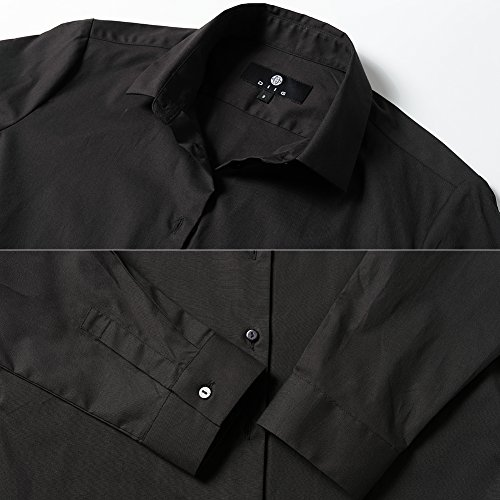 Harrms Shirts for Women Slim Fit Stretchy Cotton Black Button Down Shirts Size 8 by Harrms (Image #5)