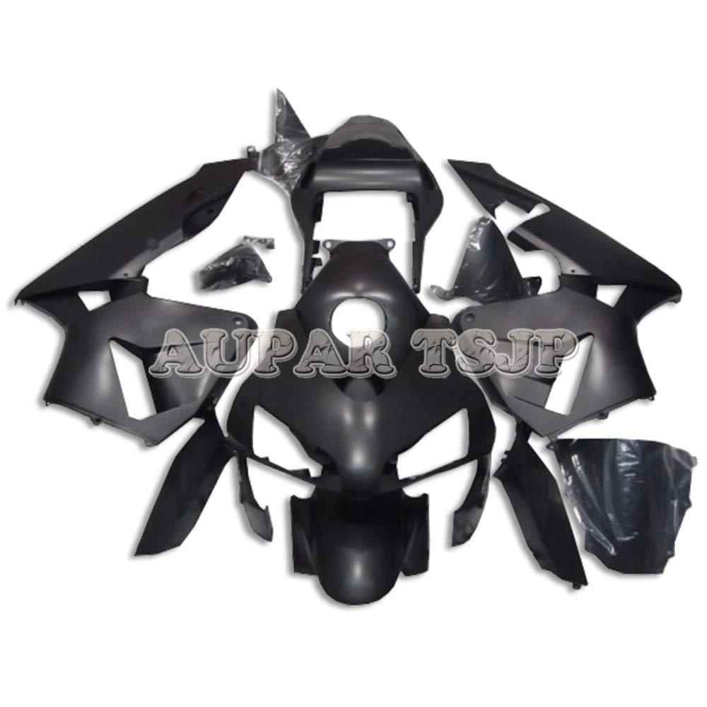 AUPARTSJPマットピュアブラックABSプラスチック注入外装部品セット適応フルフェアリングキットフィットホンダCBR600RR F5年2003 2004 CBR 600 RR 03 04 CBR600 RRオートバイカウル   B07S7BK3BD