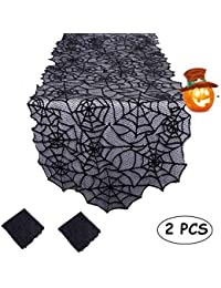 Black Spider Web Lace Tablecloth for Home Party Table Decorations, 20x 80 inch 2 Piece