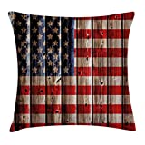 Ambesonne 4th of July Throw Pillow Cushion Cover, Rustic Backdrop with American Flag Design Wooden Boards Design, Decorative Square Accent Pillow Case, 24 X 24 Inches, White Navy Blue Vermilion Review