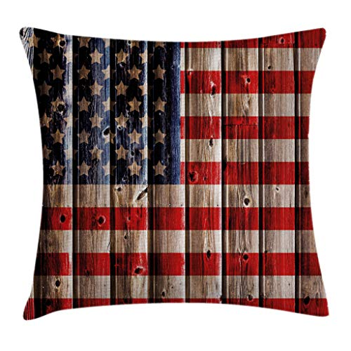 """Ambesonne 4th of July Throw Pillow Cushion Cover, Rustic Backdrop with American Flag Design Wooden Boards Design, Decorative Square Accent Pillow Case, 20"""" X 20"""", Vermilion Navy"""