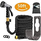Liwiner 50 FT Expandable Garden Water Hose Pipe/Magic Expanding Flexible Hose with Brass Fittings Valve 8 Function Spray Gun Nozzle Wall Holder/Storage Bag