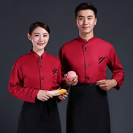 WillowswayW 1Pc Men Women Chef Uniform Single Breasted Long Sleeve Coat Restaurant Cook Working Clothes
