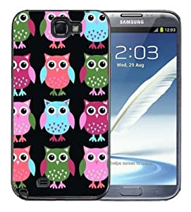 Samsung Galaxy Note 2 Black Rubber Silicone Case - Cute Owls Owl pattern Print Pink Green