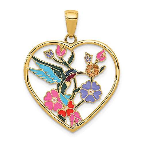 Mia Diamonds 14K Yellow Gold Enameled Hummingbird with flowers Heart Pendant (28mm x 22mm)