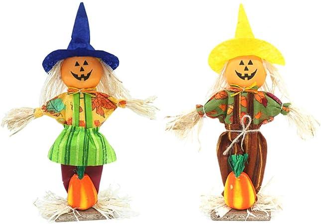 Yardwe decoración de muñecas Colgantes de Halloween espantapájaros muñeca de Calabaza jardín jardín Patio Porche decoración de Halloween: Amazon.es: Hogar