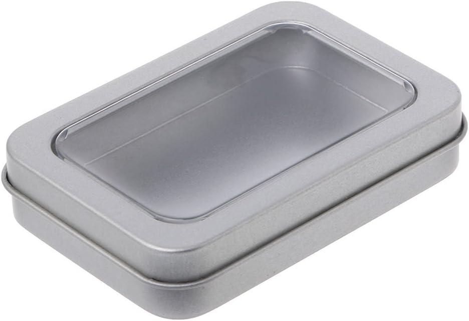 eletyuty Storage Box 1 Piece Clear Window Top Metal Tin Can Box Silver Blank Storage Case Crafts Survival Kit 1#