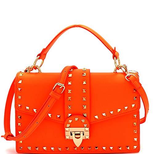 Turnlock Bag - Mini Top-Handle Retro Box Flap PU Leather Satchel Crossbody Neon (Studded Top-Handle - Neon-Orange)