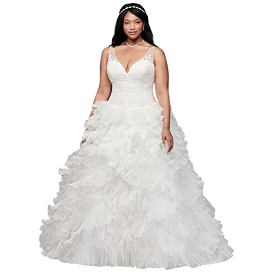 David\'s Bridal Plunging Plus Size Wedding Dress with Tiered Skirt ...