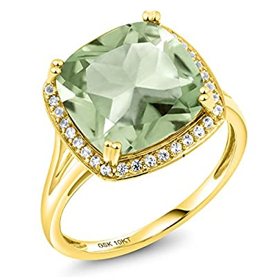 6.74 Ct Cushion Green Amethyst White Diamond 10K Yellow Gold Ring (Available in size 5,6,7,8,9)