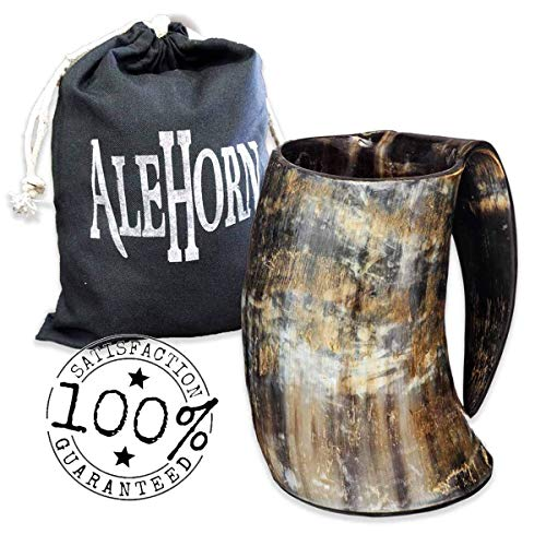 AleHorn –The Genuine Handcrafted Authentic Viking Drinking Horn XL Tankard for Beer, Mead, Ale–Medieval Inspired Game of Thrones Mug Cup Goblet –Food Safe Vessel 100%